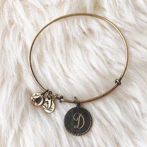 "Alex and Ani Initial ""D"" Bracelet Bronze Gold-tone"